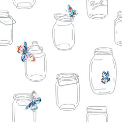 Seamless vintage whimsical pattern with jars and butterflies