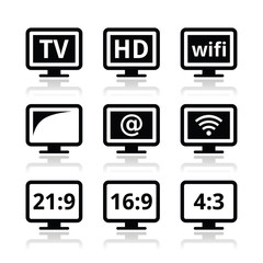 TV monitor, screen icons set