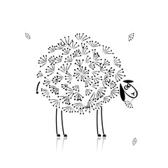 Funny sheep, sketch for your design