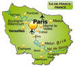 Inselkarte der Region Île-de-France in Frankreich
