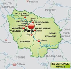 Karte von Île-de-France mit Departements und Umland