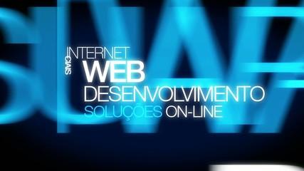 Desenvolvimento web soluções aplicativos palavra animação nuvem