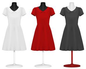Classic women's plain dress template