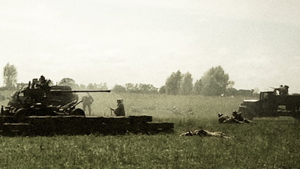 Vintage shots second world war, reconstruction. Soviet, German