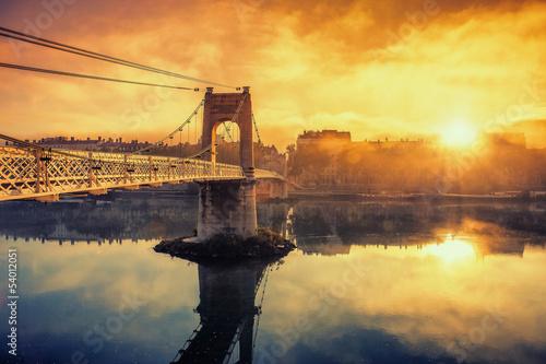 Sunrise on footbridge - 54012051