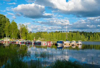 Boats on the lake in Jyvaskyla, Finland
