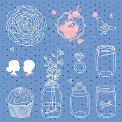 Vintage set of cute vector wedding elements