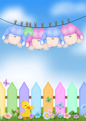 Quadruplets on clothesline