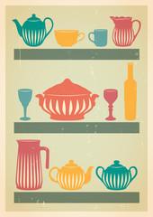 Mid century dishes set