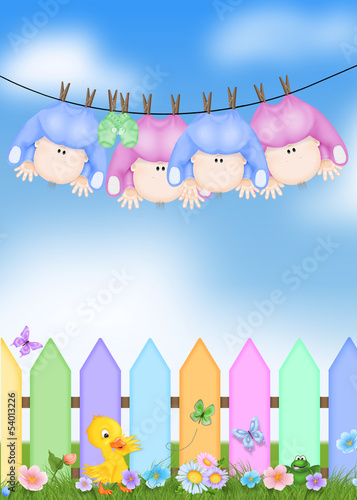 Quadruplets on clothesline