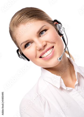 Smiling female call assistant in web headset, isolated