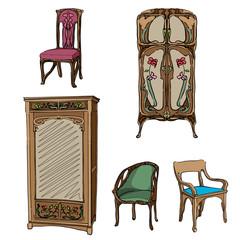 art nouveau colored furniture