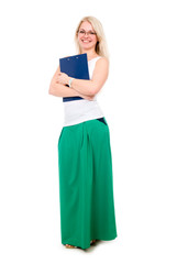 Full length of young blond girl holding clipboard