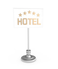 Five Stars Hotel sign isolated on white