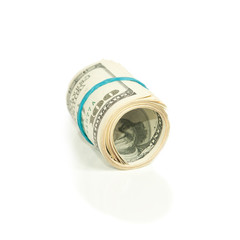 roll pack of dollars isolated on white