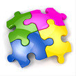 Jigsaw puzzle on white isolated background.