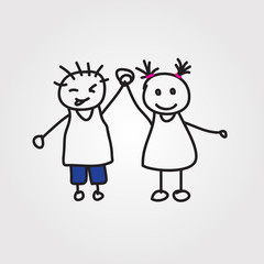 children vector hand drawn
