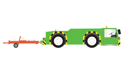 A Green Airport Pushback Tractor and Tow Bar