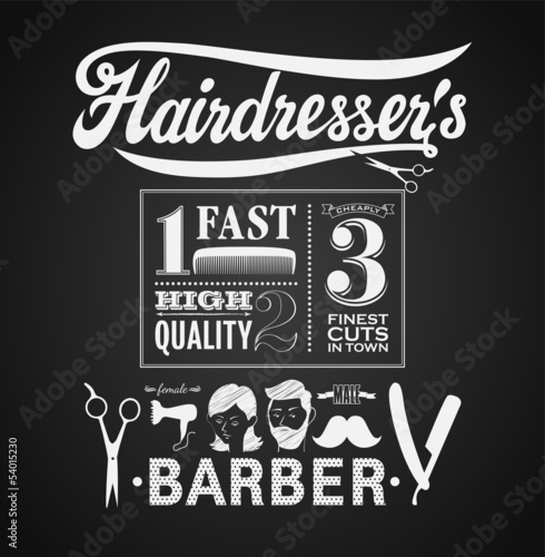 Illustration of a vintage graphic element for barbershop