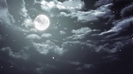 Halloween moon and dark sky wide