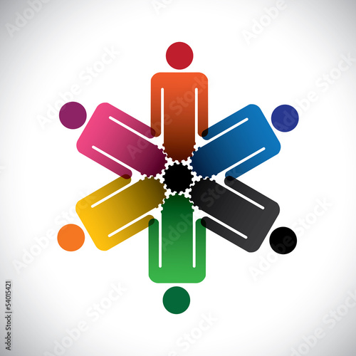 colorful abstract people community as cog wheels- simple vector