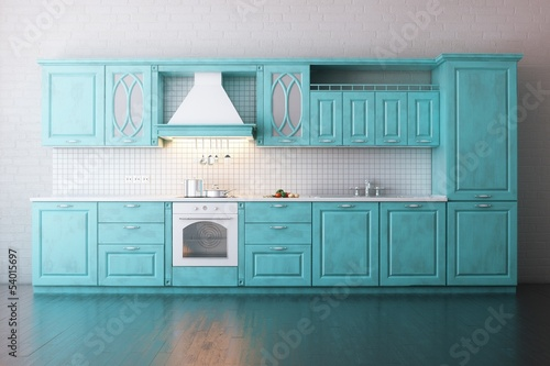 Classic Wooden Kitchen Painted In Turquoise
