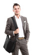portrait of young business man holding briefcase in hand