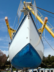Sailboat on crane