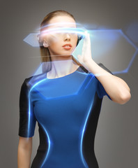 woman in futuristic glasses