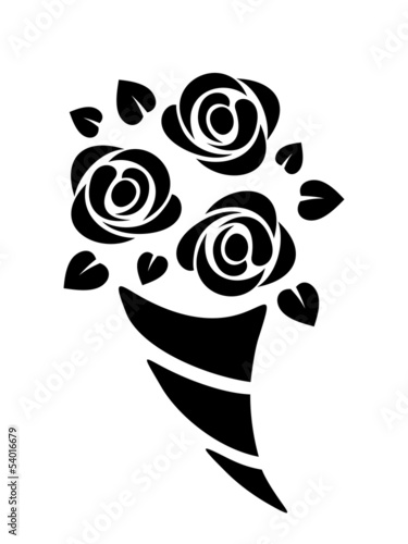 Black silhouette of roses bouquet. Vector illustration.
