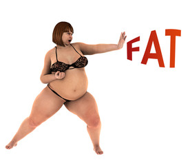 Fat woman fight for weight loss