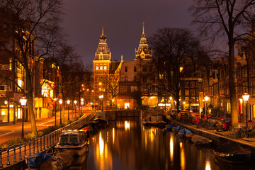 Amsterdam in the evening. View at the Rijksmuseum