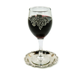 Glass of wine for Shabbat, isolated on white