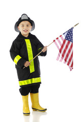 Young Fire-Fighting Flag Bearer