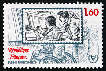 Postage stamp France 1981 Disabled Man on Workplace