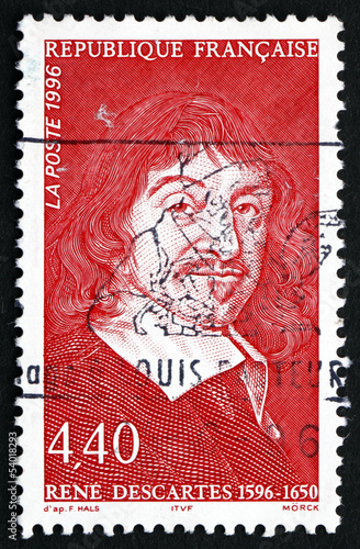 Postage stamp France 1996 Rene Descartes, Philosopher