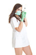 Doctor woman with medical syringe. young female doctor with syri