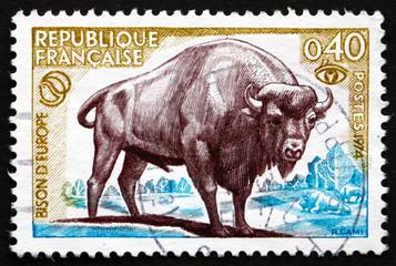 Postage stamp France 1974 European Bison, Bison Bonasus