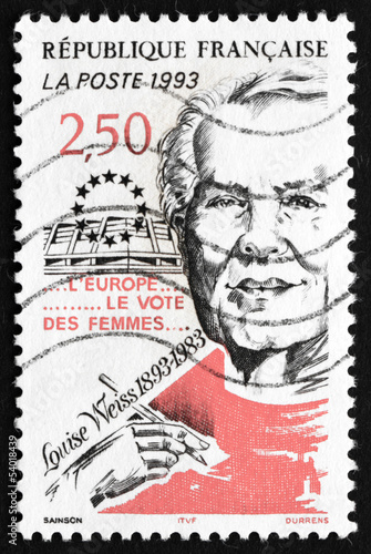 Postage stamp France 1993 Louise Weiss, Suffragist
