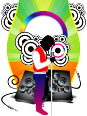 abstract colorful musical background with shilloutes