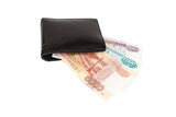 Isolated russian rubles banknotes in a wallet