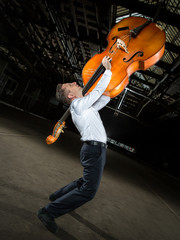 men's white shirt with double bass player