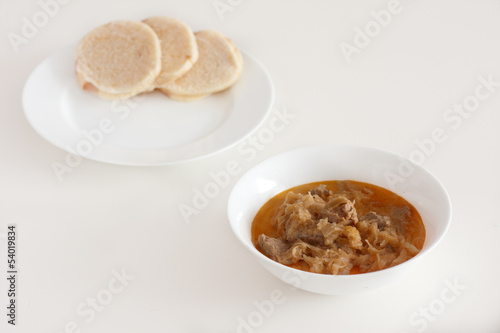 Hungarian goulash with pickled white cabbage and dumplings