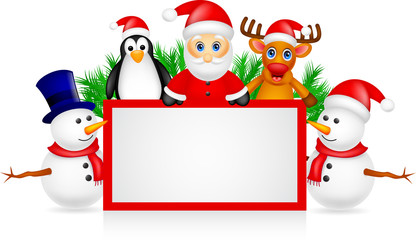 santa claus with friends and blank sign