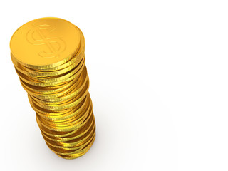 Dollar coins stack