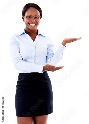 Business woman displaying something