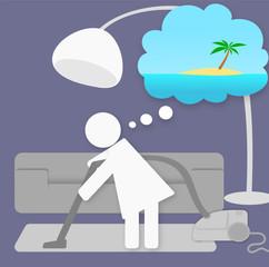 Métro Boulot Dodo - envie de vacances lors du ménage