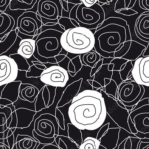 Deurstickers Bloemen zwart wit pattern
