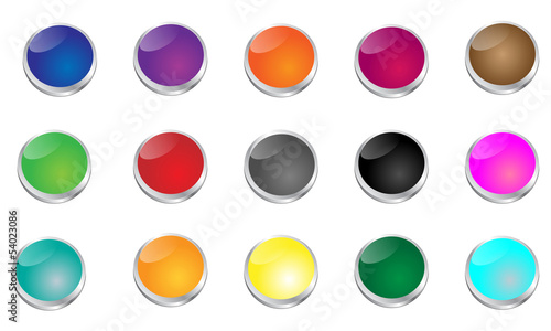 Glossy Glasslike Punch Button Set