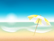 Vector abstract summer poster with beach background